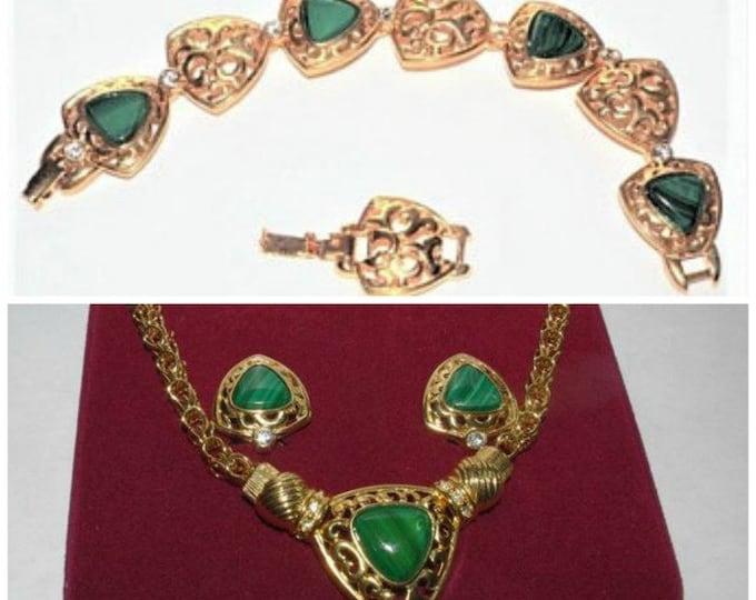 Jackie Kennedy Malachite Jewelry Set with Certificate