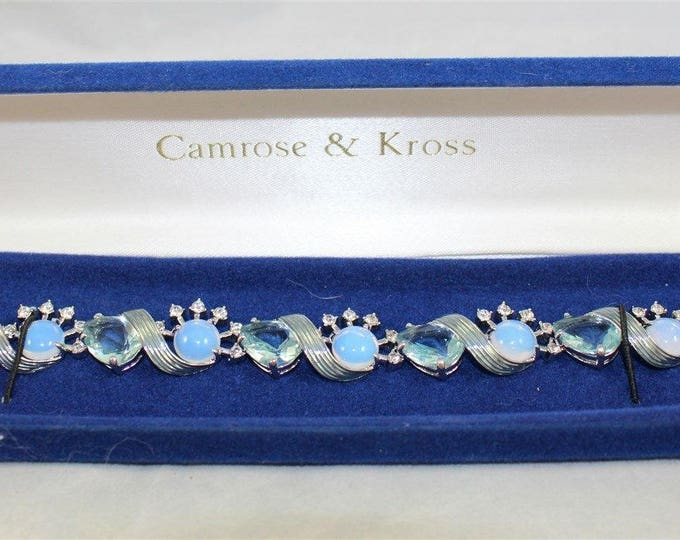Jackie Kennedy Jewelry Set - Blue and Silver Morning Mist Bracelet and Earrings with Certificate