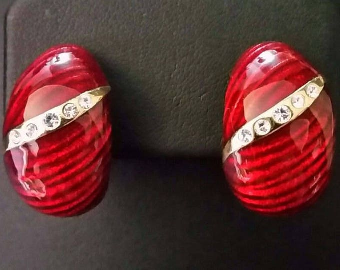 Jackie Kennedy Earrings, Red Enamel with Crystals - Clip On - 3