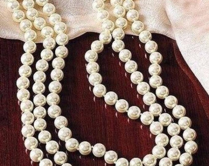 Jackie Kennedy Long Pearl Necklace - Triple Strand with Certificate