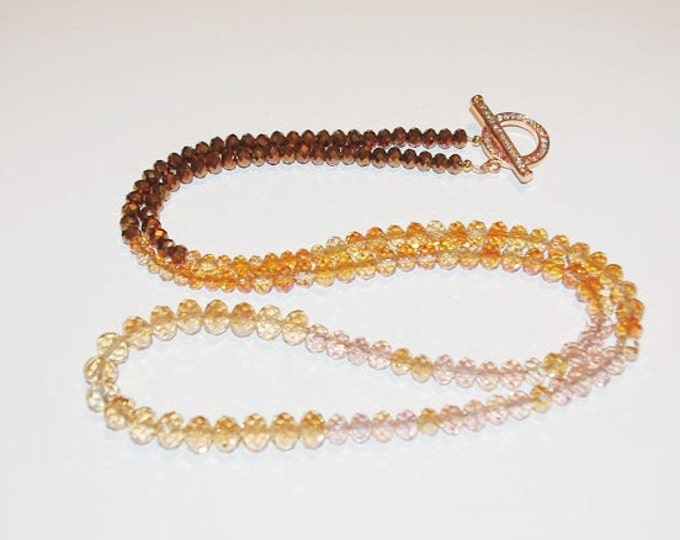 Ombre Crystal Necklace - Bronze  - S1382