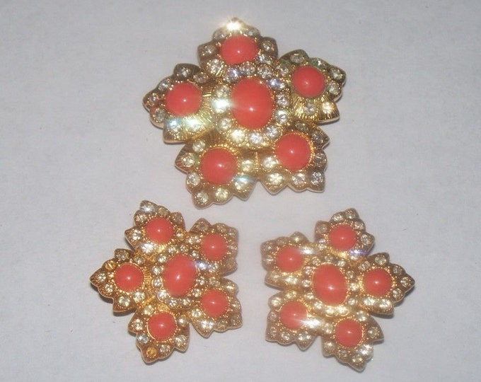 Joan Rivers Coral Jewelry Set - Pin Pendant And Earrings - S3242