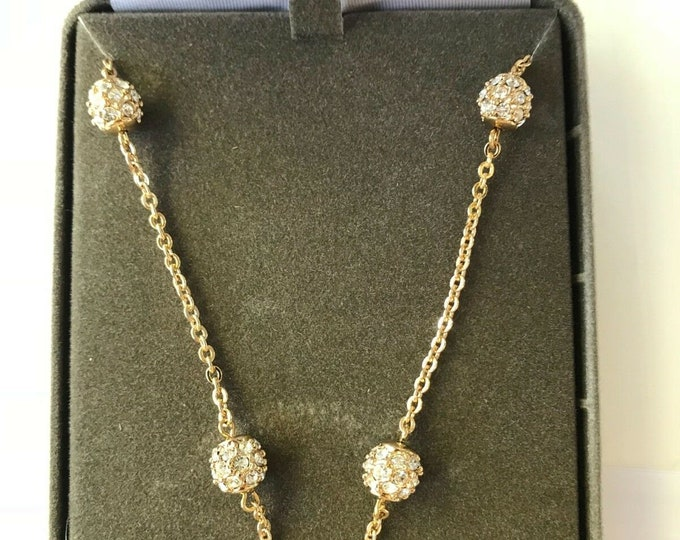 Nolan Miller Necklace - Gold Chain with Crystal Balls - S214
