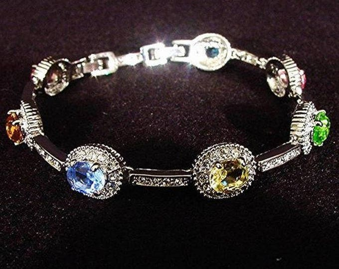 Jackie Kennedy Bracelet - Silver with Multi Colored Stones, Box and Certificate - Size 7 or 8 - 171
