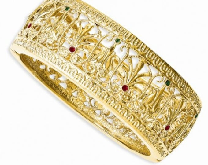Jackie Kennedy Burmese Bracelet  - Gold Plated with Stones - Size 7.5 - #231