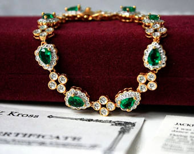 Jackie Kennedy Emerald Bracelet - Gold Plated with Stones, Size  - #182