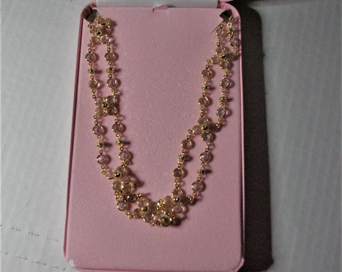 Audrey Hepburn Crystal Necklace - Wear It Long or Doubled Up - 37 Inches