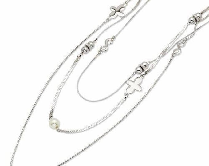 Jackie Kennedy Necklace - Silver Triple Strand with Certificate - #190 tms1