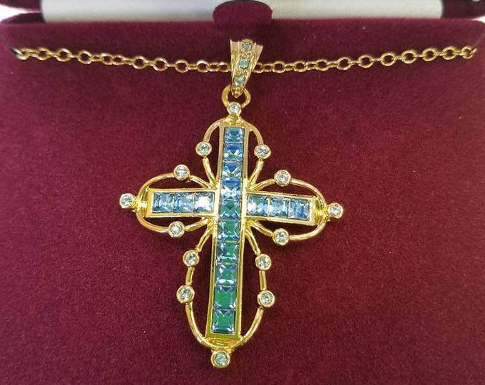 Jackie Kennedy Cross Necklace - Gold Plated with Simulated Ceylon Sapphires