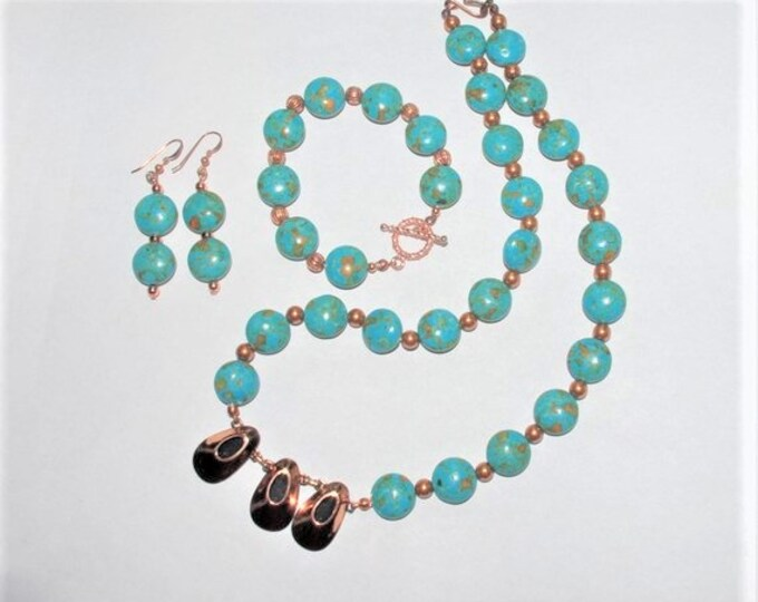 Turquoise and Copper Necklace Set - S2361