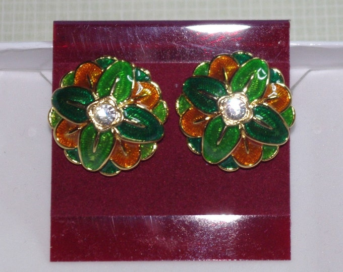 Joan Rivers Green and Gold Clip On Earrings - S2499