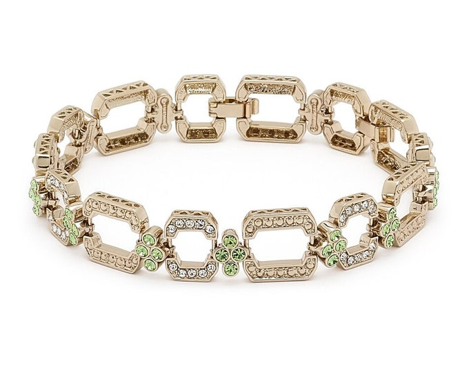Grace Kelly Peridot Hex-Shaped Bracelet - Gold Plated with Stones - # 259