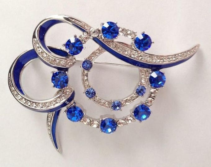 Jackie Kennedy Sapphire Brooch - Silver with Stones No. 278