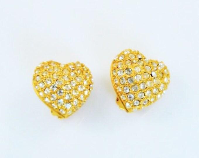 Joan Rivers Crystal Heart Clip On Earrings - S1496