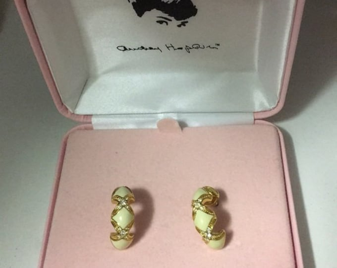 Audrey Hepburn Earrings - Enameled, Crystal with Gold Accents - Pierced