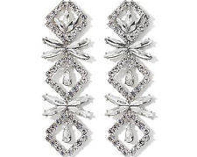 Audrey Hepburn Earrings - Convertible Crystal Dangles - Pierced