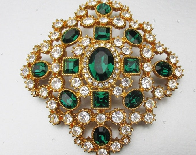 Joan Rivers Emerald Brooch in Gold Tone and Crystals - S3049a