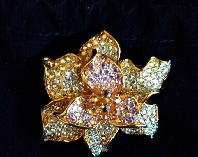Jackie Kennedy Flower Brooch, Pink and Clear Stones - #258