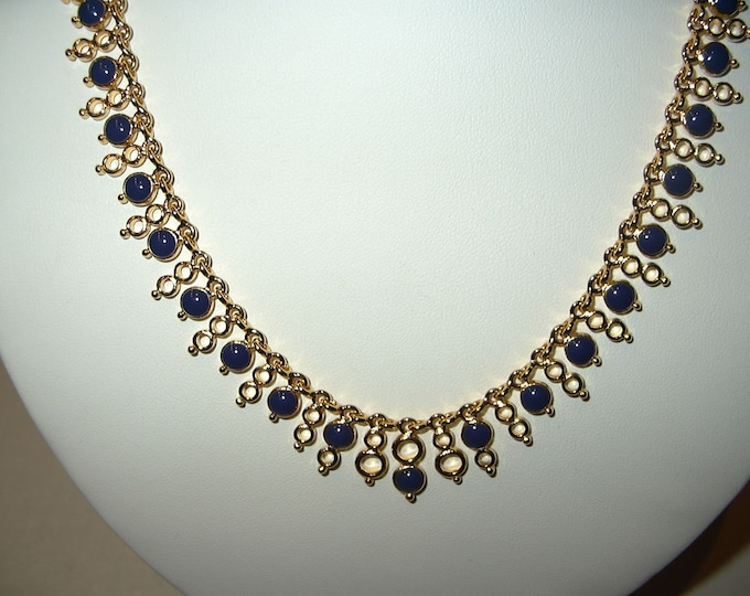Joan Rivers Reversible Necklace - Gold Tone with Crystal and Lapis Stones - S3194