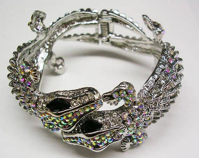 Kenneth Lane Double Alligator Bracelet - Size 6.75 - CHOICE of COLOR