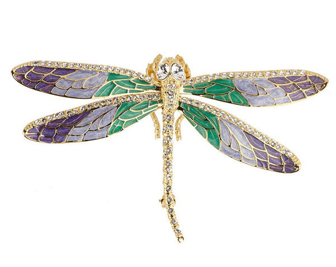 Jackie Kennedy Dragonfly Brooch in Enamel with Crystals - #254