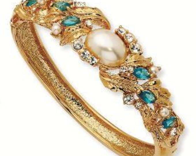RESERVED FOR RENEE - Jackie Kennedy Gold Bangle with Aqua Stones, Crystals and Faux Pearl - S143