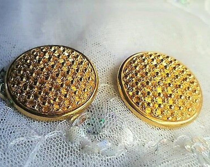 Joan Rivers Round Gold Clip On Earrings - S3195