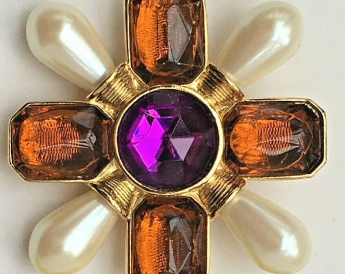 Avon Maltese Cross Brooch - Pearls and Faceted Stones - S3185