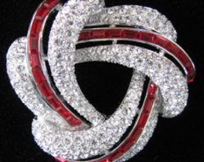 Nolan Miller Crystal and Red Brooch in Silver Tone - S2437