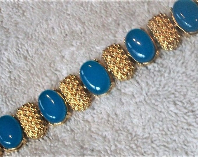 Nolan Miller Bracelet - Gold and Peacock Blue Size 7 - S2141