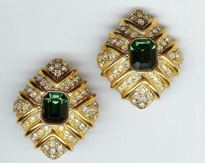 Joan Rivers Earrings - Emerald Green with Crystals Clip On - S1963