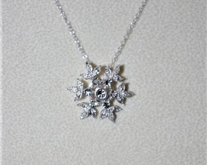925 Diamond Snowflake Necklace - TMS1
