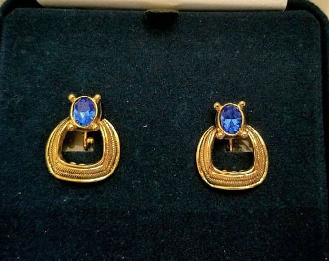 Jackie Kennedy Earrings - Buckle Design in Gold with Blue Stones - Clip On - #181