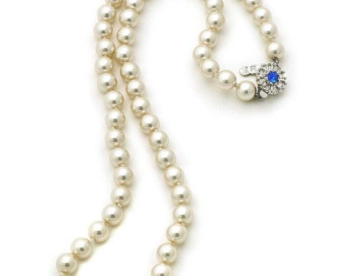 Jackie Kennedy Pearl Necklace with Sapphire Clasp and Certificate - tms1