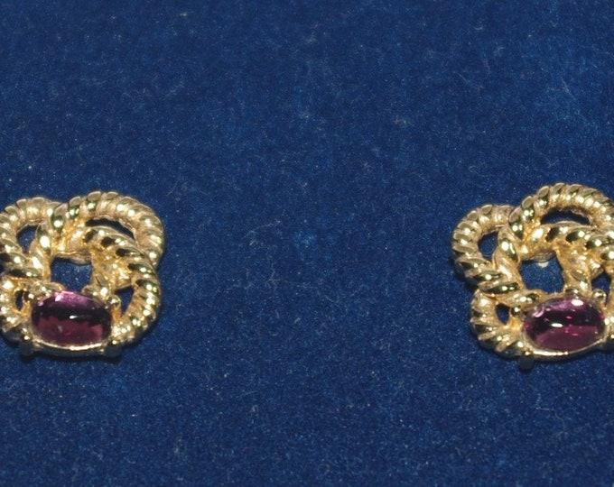 Jackie Kennedy Amethyst Pierced Earrings with Certificate - 14