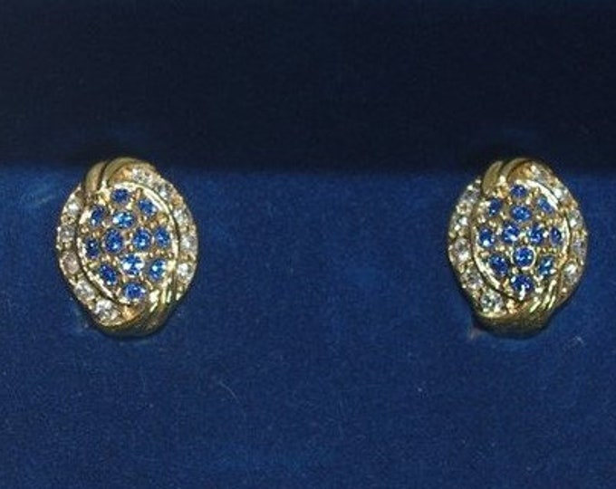 Jackie Kennedy Earrings - Gold Plated Clip Ons, Blue Stones, Crystals, Box and Certificate - #237