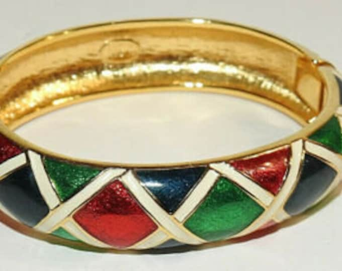 Joan Rivers Hinged Bangle Bracelet - Red, Blue and Green Enamel - S3190