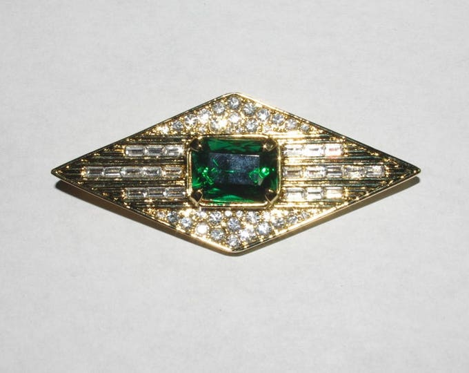 Jackie Kennedy Pin Pendant Enhancer  - Gold with Emerald and Crystal Stones - #185