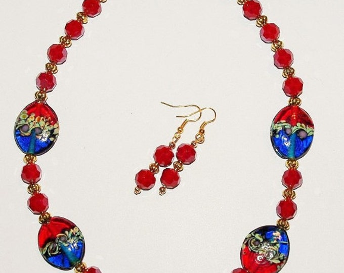 Glass Bead Necklace and Earrings Set - Red and Blue - S254