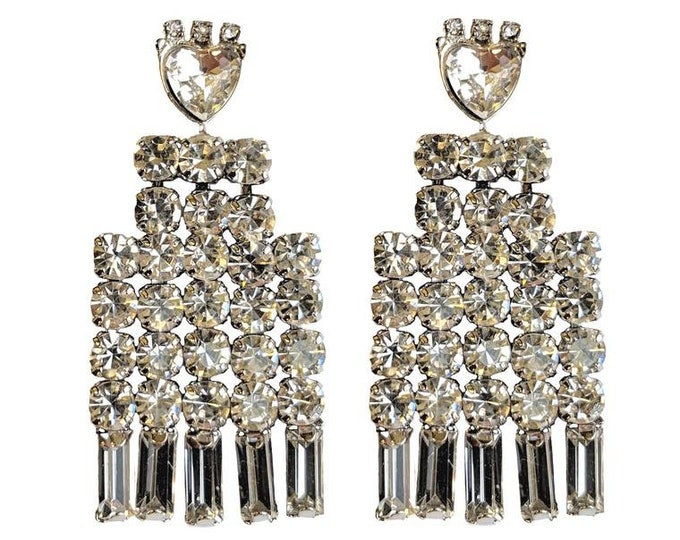 Grace Kelly Crystal Earrings with Heart Accents - Pierced