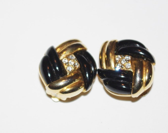 Joan Rivers Black and Gold Clip on Earrings with Crystals - S1119