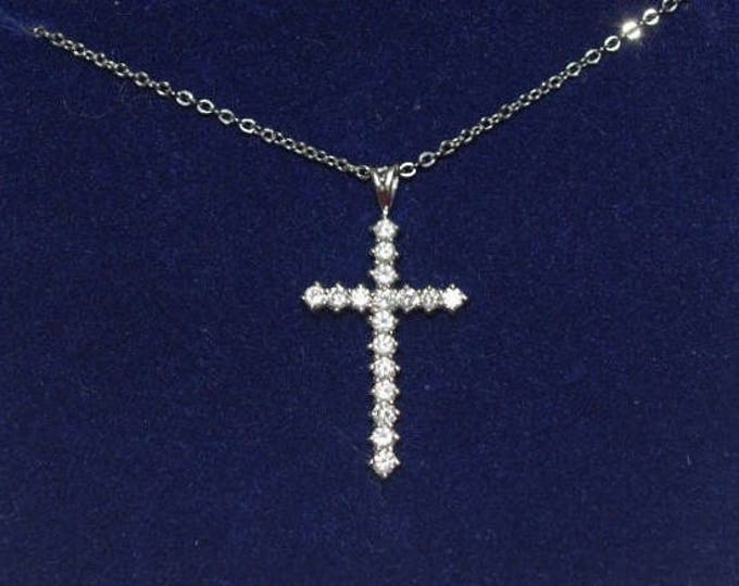 Jackie Kennedy Crystal Cross Necklace with Certificate