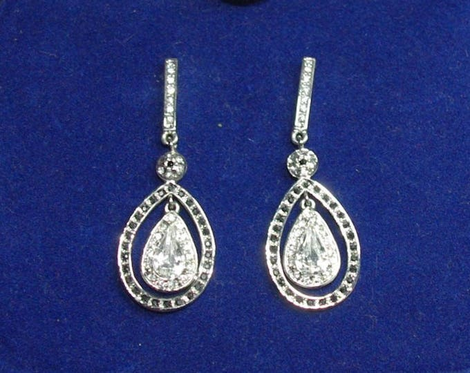 Jackie Kennedy Silver  Teardrop Pierced Earrings - 18
