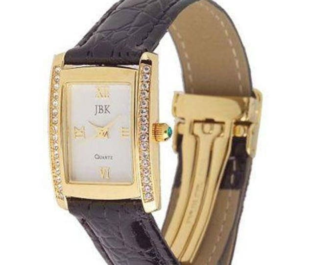 Jackie Kennedy Watch - Gold with Black Watchband, Crystals and Certificate