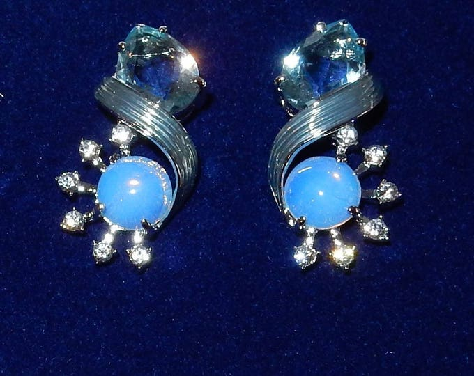 Jackie Kennedy Blue Morning Mist Clip On Earrings - 59