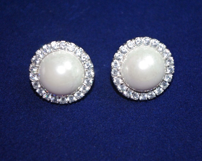 Pearl Earrings with Crystals, Pierced - S3057