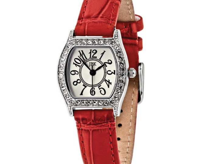 Jackie Kennedy Silver Watch with Red Band, Stones and New Battery
