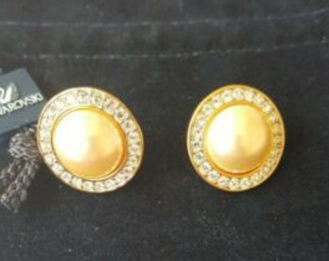 Swarovski Pearl Earrings with Crystals, and 14kt Gold Posts - Pierced - S3223
