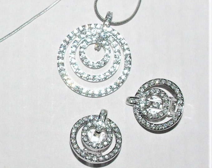 Nolan Miller Crystal Necklace and Earrings Set in Silver Tone - S3130