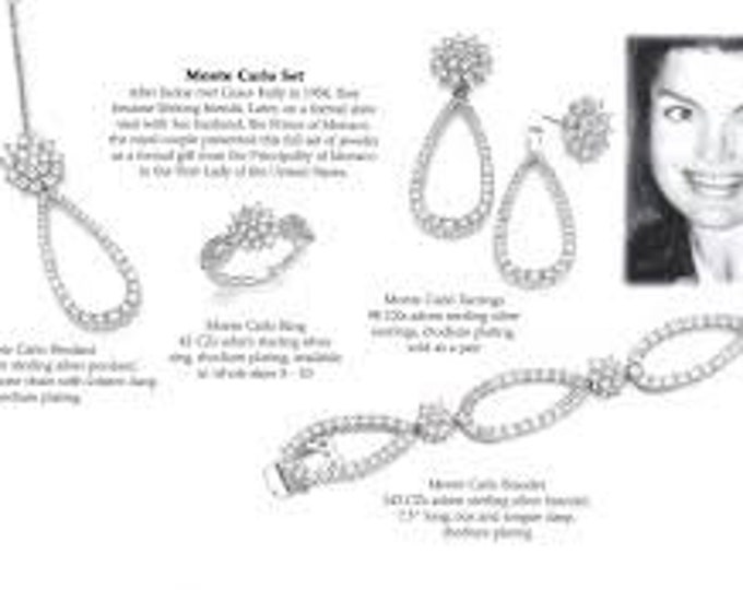 Jackie Kennedy Jewelry SET - 3pc Silver and Crystal MONTE CARLO Necklace, Bracelet and Earrings